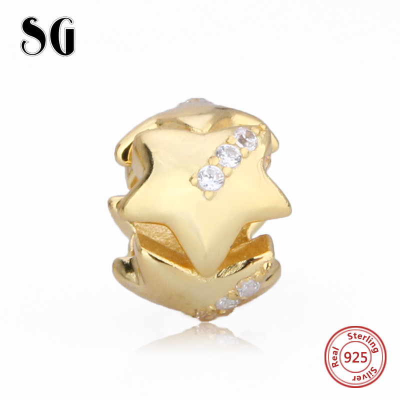 100% Authentic 925 Sterling Silver Gold Dazzling Clear Cz beads Fit pandora Charm Bracelet DIY Original Sterling Silver Jewelry