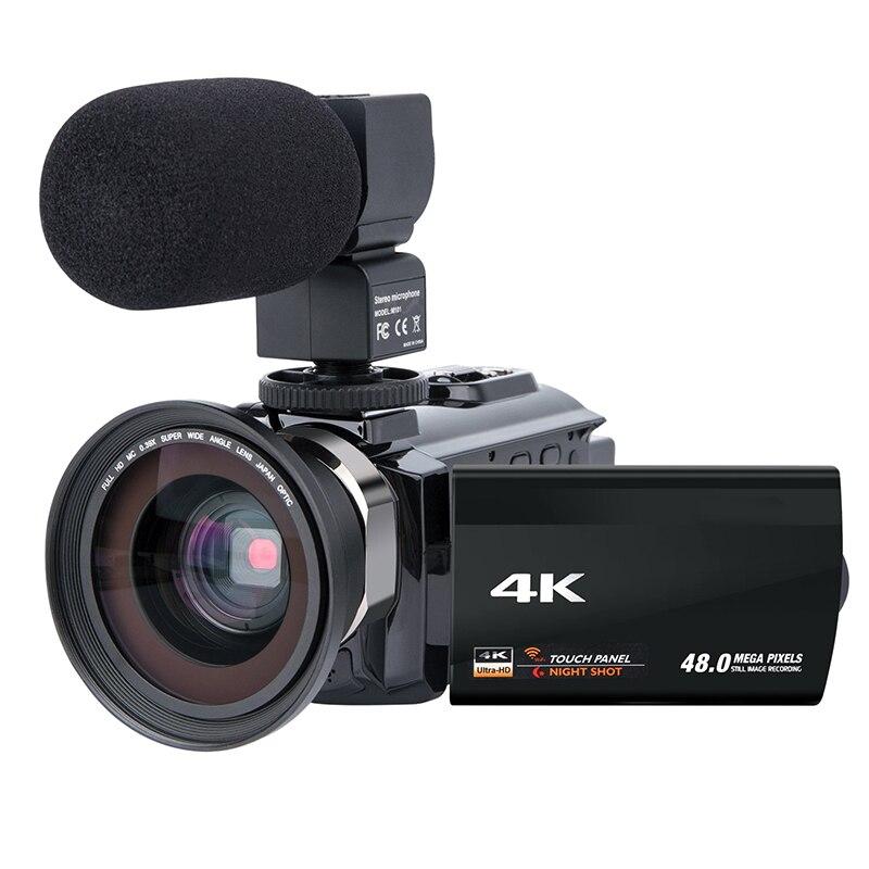 Caméra vidéo caméscope 4K Ultra Hd numérique Wifi caméra 48.0Mp (Interpolation) 3.0 pouces presse écran 16X numérique Zoom enregistreur W