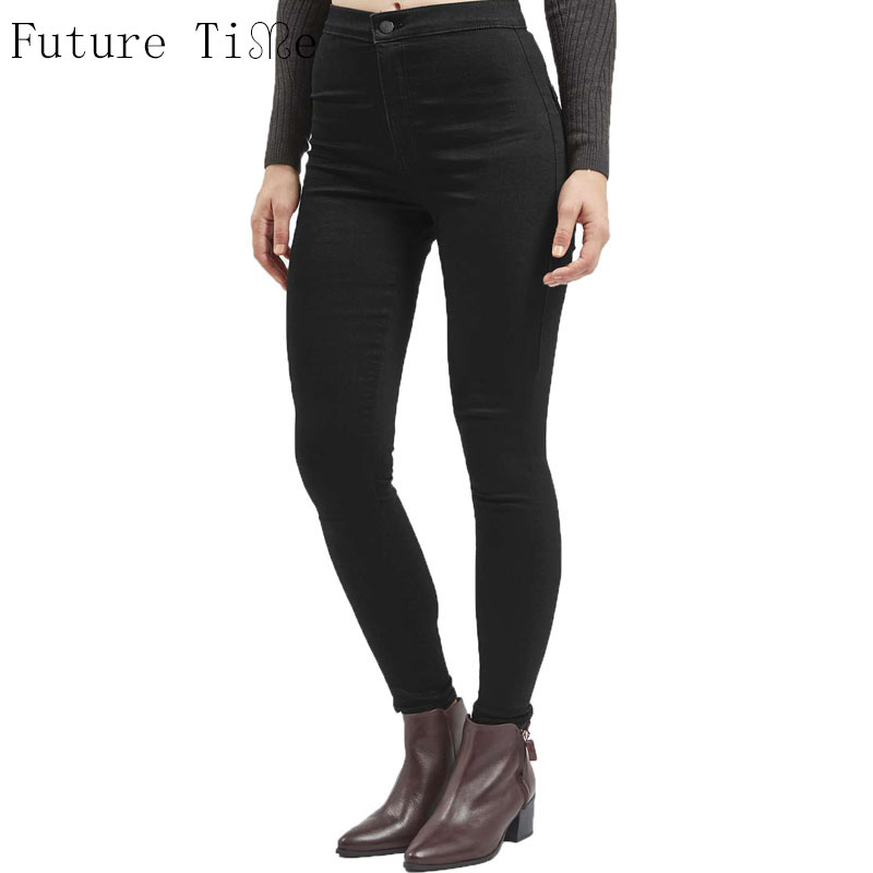 Future Time High Waist Women Jeans Skinny Elastic Winter Denim Pants Female Washed Pencil Pants Vintage 5 Colors Trousers NZ047 2017 new jeans women spring pants high waist thin slim elastic waist pencil pants fashion denim trousers 3 color plus size