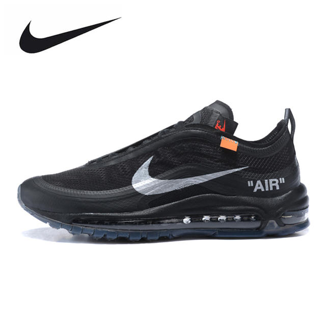 best cheap b4e36 e6fde Nike Air Max 97 Off White Running Shoes Black Sports Shoes For Women AJ4585-001  36-39