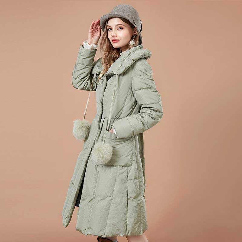 ARTKA 2018 Winter Women Long Thick Large Turn-  down   Collar 90% White Duck   Down     Coat   Detectable Pompoms Drawstring Jacket YK10081D