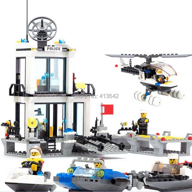 Regalo: etiqueta, 6726 diy educativos policía acuáticos estaciones 536 unids kazi monta los juguetes del bloque de envío gratis