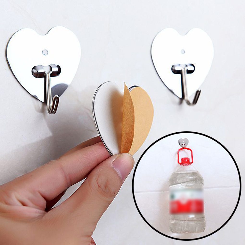 10pcs No-Nail Stainless Steel Adhesive Kitchen Hook Traceless Bathroom Living Room Closet Hat Coat Hanger