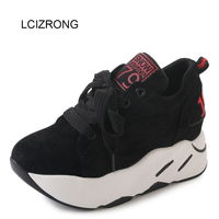 LCIZRONG Casual 5CM Flock Women Flat Shoes 3 Colors Solid Thick Sole Platform Shoes Female Creepers Non slip Breathable Shoes