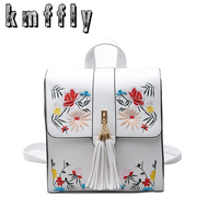 KMFFLY High Quality PU Embroidery Backpack School Bags For Teenagers Casual Black Trave Backpack Women Mochila