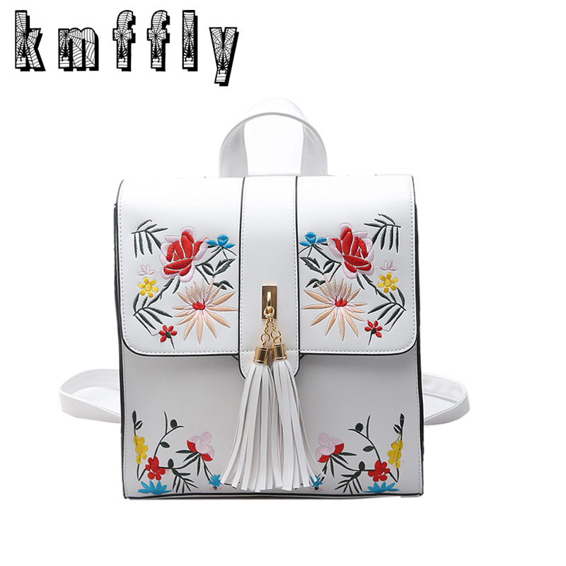 где купить KMFFLY High Quality PU Embroidery Backpack School Bags For Teenagers Casual Black Trave Backpack Women Mochila Sac A Dos Femme по лучшей цене