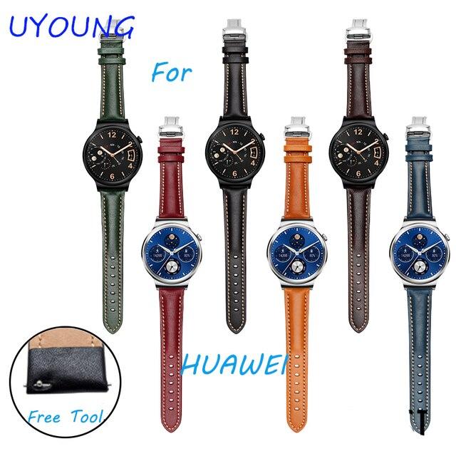 Para huawei watch correa correa de reloj de 18mm hebilla de cuero genuino de la alta calidad para huawei smart watch