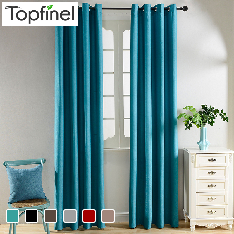 Buy Top Finel Solid Blackout Curtains For