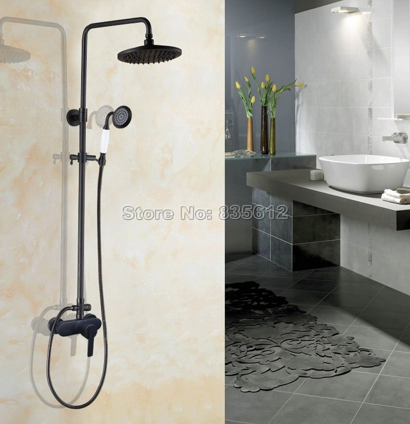 Rain Shower Faucet Set with Handheld Shower Bathroom Wall Mounted Black Oil Rubbed Bronze Single Handle Mixer Tap Whg158