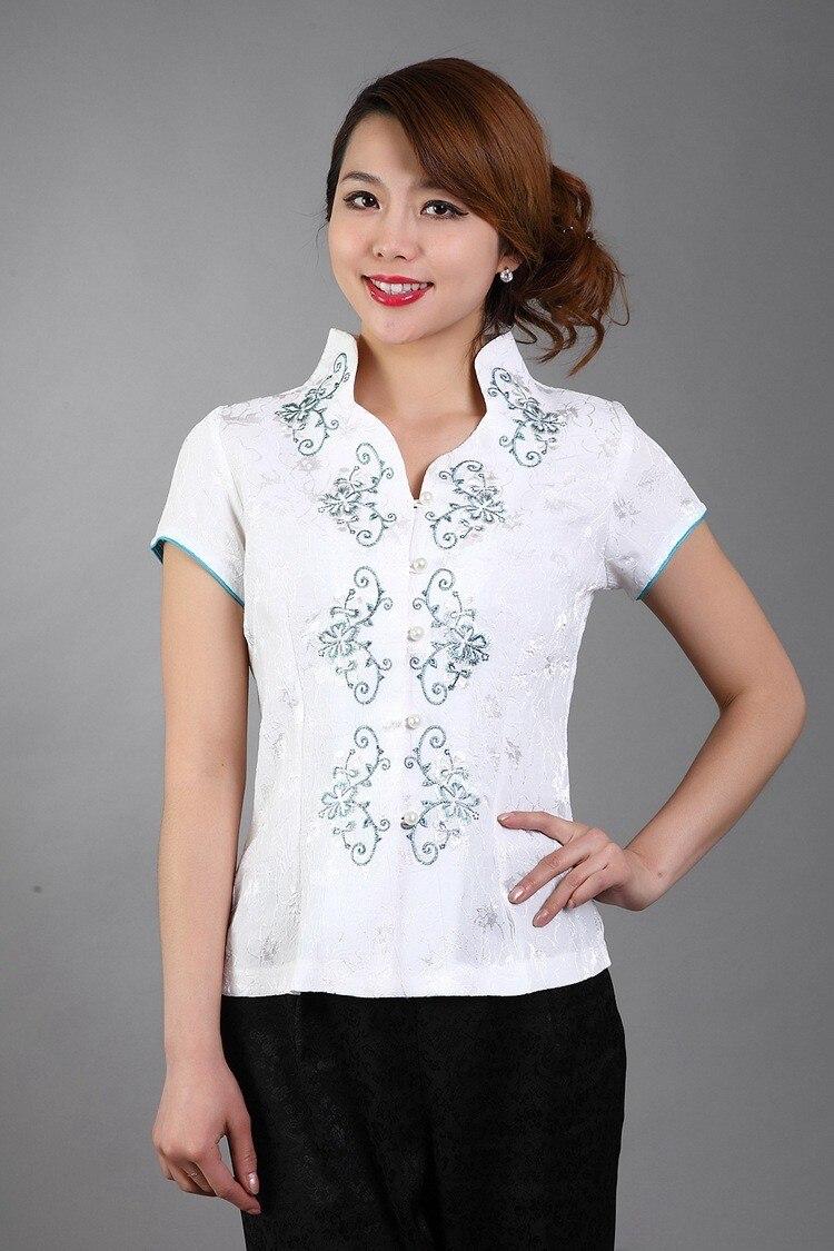 Súper ventas blanco señora bordado de la blusa del satén Tops de flores camisa c