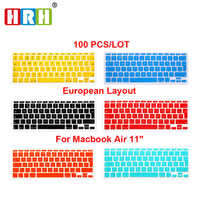 "HRH 100pcs Silicone Waterproof EU/UK layout  Keyboard Protector Cover Skin For MacBook Air 11""11.6 Inch For Mac 11 Euro keyboard"