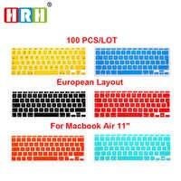 """HRH 100 pièces Silicone imperméable à l'eau EU/UK disposition clavier protecteur peau de couverture pour MacBook Air 11 """"11.6 pouces pour Mac 11 Euro clavier"""