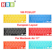 Silicone Waterproof EU/UK layout  Keyboard Protector Cover Skin For MacBook Air 11