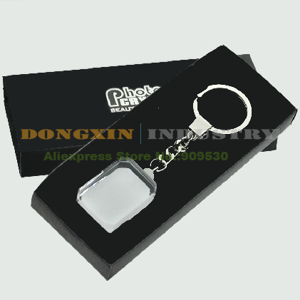 10 PCS GJ-07 New Fashion Rounded Corner Rectangle Crystal Blank Key Rings For Sublimation Heat Transfer