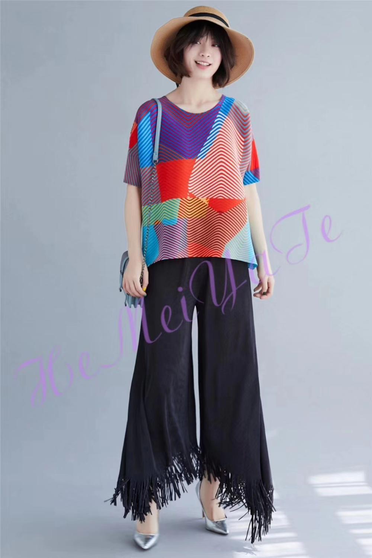 ¡Envío gratis! pantalones Miyake con flecos de moda de color puro y diseño artístico en STOCK - 6