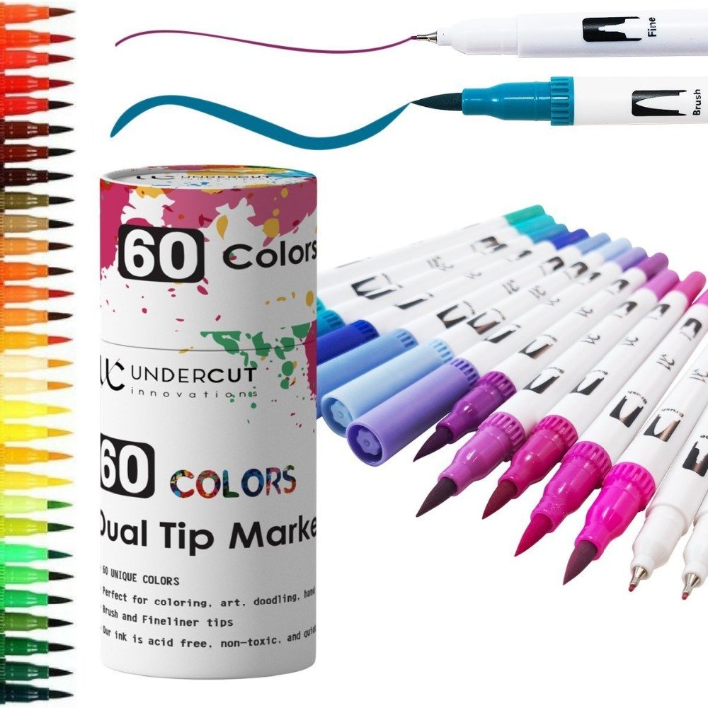 TOUCHFIVE Dual Tip Art Marker Pen Soft & Broad Tip 60 Colors Marker Set for Drawing Water Color Markers Pen Painting for Artist w110145 soft head fine water mark pen 48 60 color beginners painting professional equipment advanced ink student art suit
