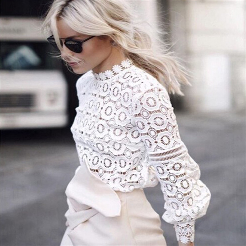 2019 Spring Summer Sexy Hollow Out Elegant Tops Cool Blouse Blusas Lace Blouse Long Sleeve Women Casual White Blouse Shirt