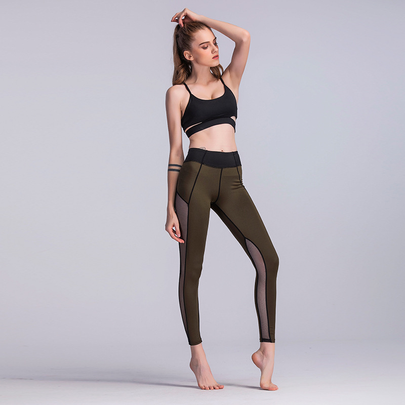 3c77562934 JIGERJOGER KHAKI Army green Yoga Pants side mesh panel patches High ...