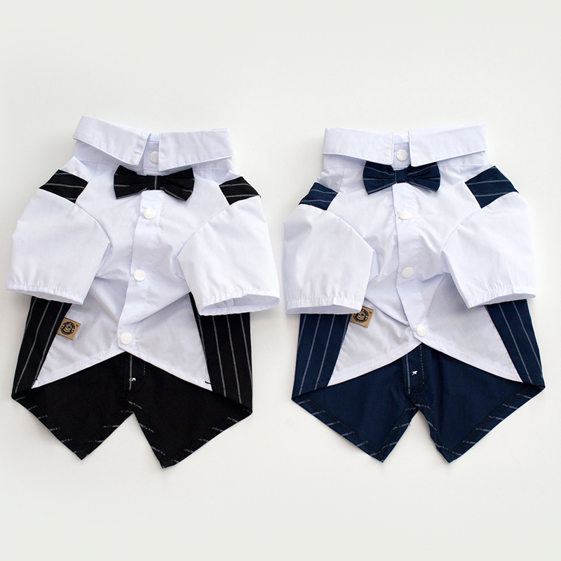 Western Style Pet Dog Wedding Tuxedo Clothes Suit With Bow Tie Gentleman Garment Formal Party Dog Jacket Coat Cothes Costume