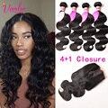 Dark Light Brown Peruvian Virgin Hair Body Wave With Closure 4 Bundles Human Hair Weave 7a Peruvian Curly Hair With Lace Closure