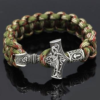 Thor Hammer Mjolnir Paracord Rune Knot Amulet Scandinavian Bracelet  Viking Bracelet