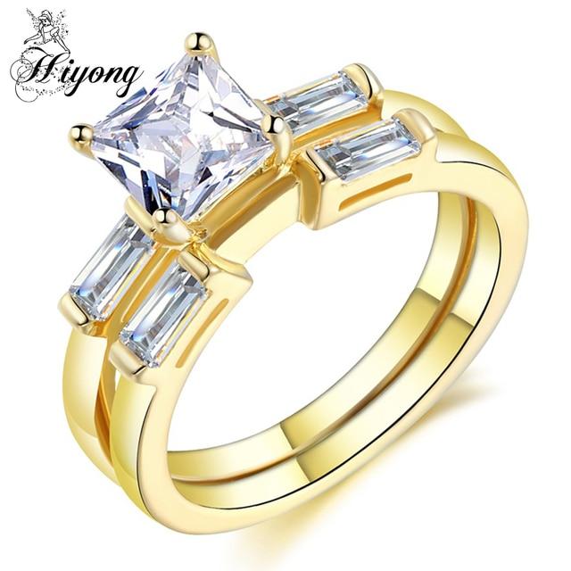 HIYONG Simple Design AAA Trapezoid Cubic Zirconia Wedding Ring Set Of 2PCS  Princess Cut Anniversary Gift