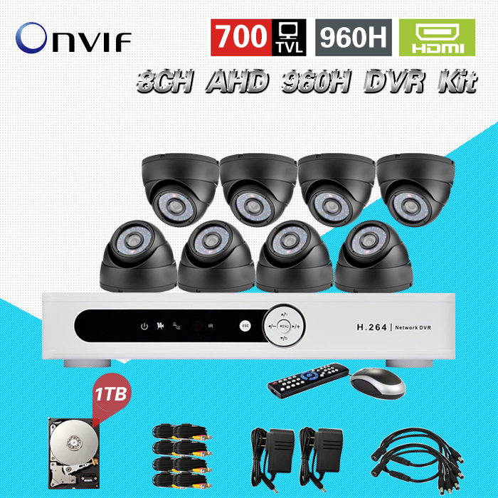 TEATE 8ch CCTV System 700TVL Cameras  AHD 960H recording DVR 8channel Security Camera Video surveillance DVR Kit HDD 1TB CK-198 home cctv surveillance system 16 channel dvr recording with 16pcs 700tvl dome security camera system cctv dvr kit 16ch ck 206