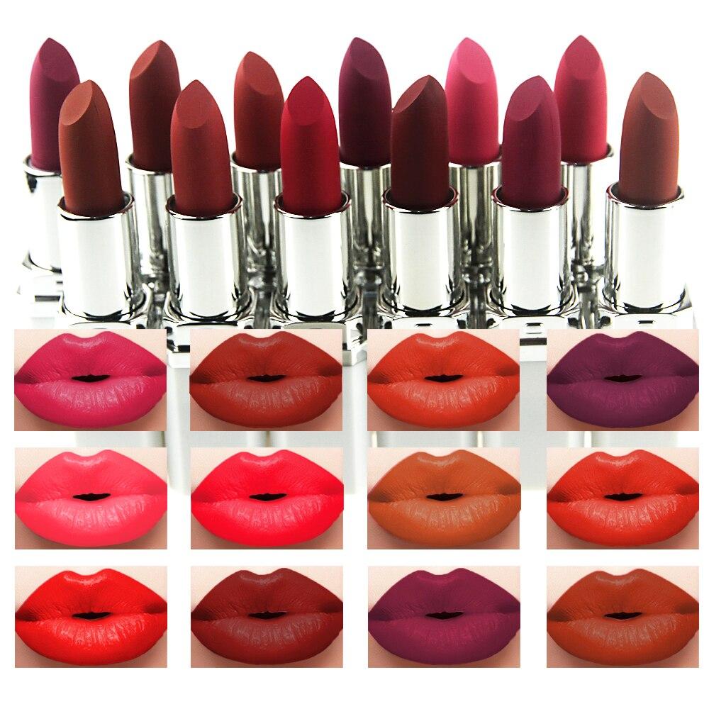 12Pcs/lot Huamianli 12 Colors Batom Matte Lipstick Makeup