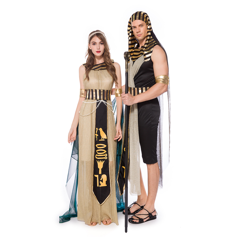 Women Sexy Cleopatra Costume Egyptian Queen Cosplay Adult Men Egyptian Pharaoh Costumes Halloween Fancy Party Dress Outfit