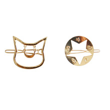SANSUMMER 2019 New Style Fashionable Alloy Electroplated Animal Cartoon Kittens Pentagram Hairpin Lovely Hair Accessories 5401