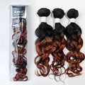EVET Virgin Brazilian Human Hair Weaves Ombre Curly Hair Extensions Set Two Tone 7A T1B/30 High Quality 3 Pieces 150g/Pack