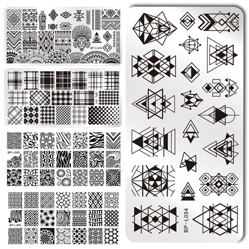 BORN PRETTY Geometry Rectangle Stamping Template Geometric Pattern Manicure Nail Art Stamp Image Plate