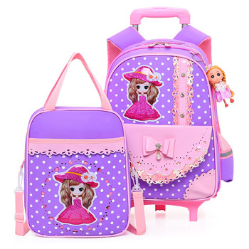 New Removable Children School Bags with 2/6 Wheels for Girls Trolley Backpack Kids Wheeled Bag Bookbag travel luggage 2pcs/set