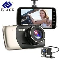 E ACE Car Dvrs Camera FHD 1080P Car Detector Video Recorder 4 Inch IPS Screen Dual Lens Night Vision Auto Registrator Dash Cam