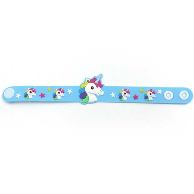 Çocuk Çocuk Kız Erkek Yıldız Baskı Renkli Unicorn Bileklik Esnek Wrap Bilezik Hayvan Enfant Bileklik Hediye Şekeri