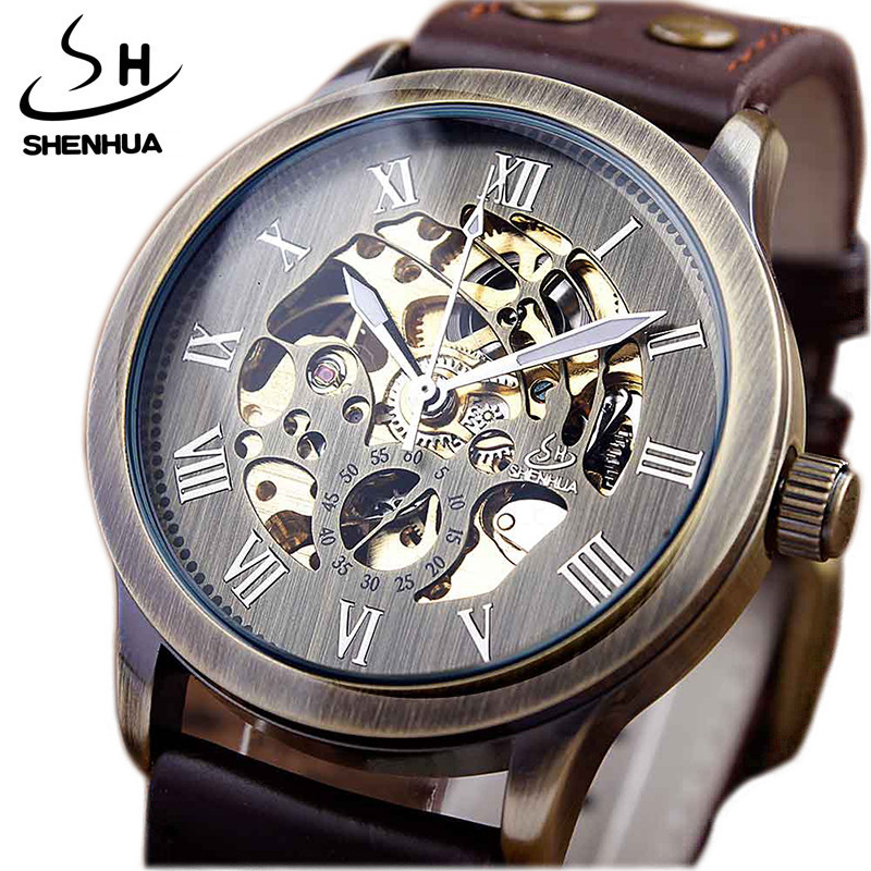 Top Brand Mechanical Watches Male Fashion Retro Bronze Skeleton Automatic Mechanical Watch Leather Wristwatch Reloj HombreTop Brand Mechanical Watches Male Fashion Retro Bronze Skeleton Automatic Mechanical Watch Leather Wristwatch Reloj Hombre