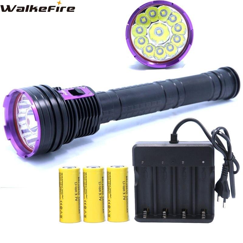 Охота фонарик Водонепроницаемый Алюминий сплав 30000LM 12 * XM-L2 светодио дный Дайвинг фонарик и 3*26650 Батарея и 4-слоты Зарядное устройство