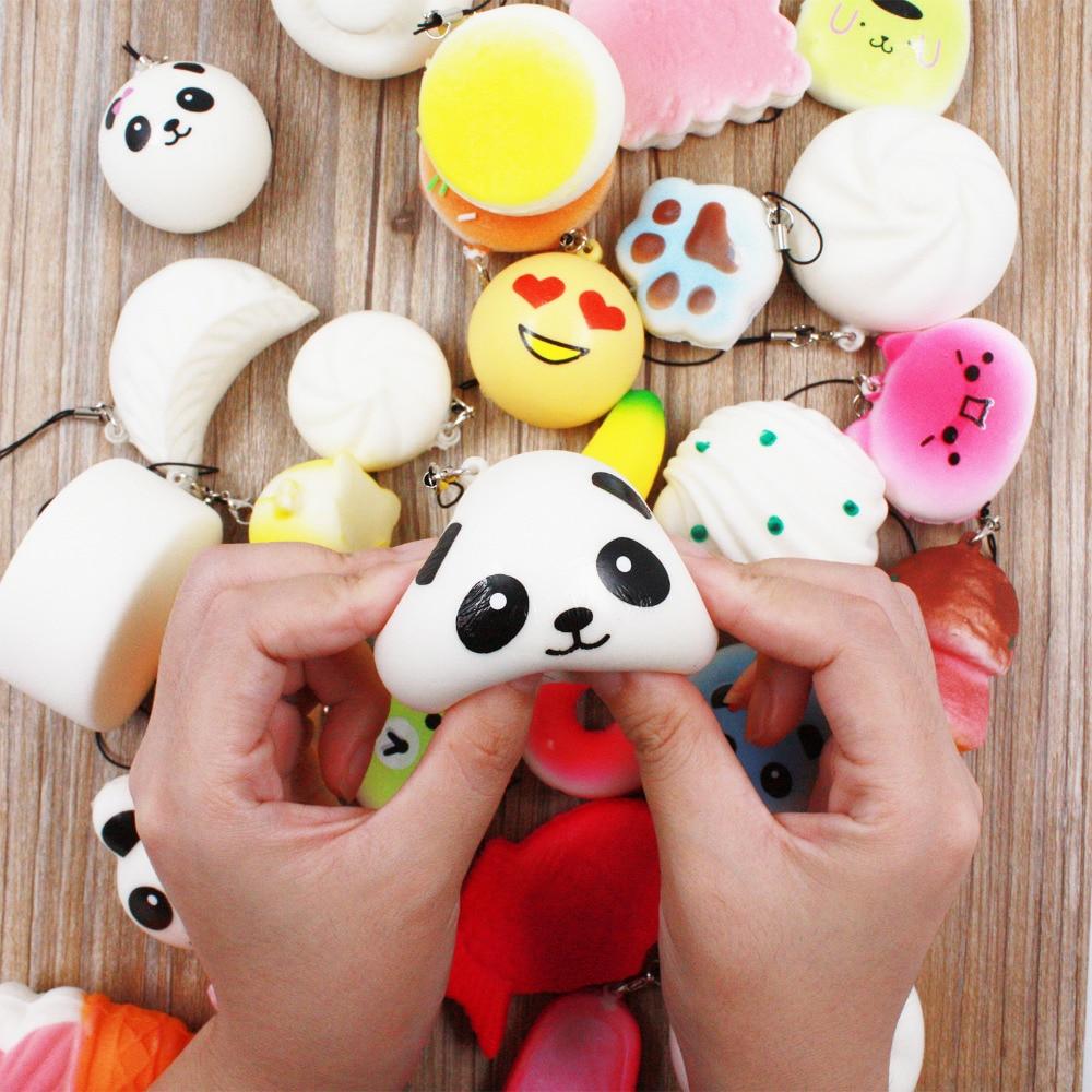 imágenes para 30/20/10 Unids Lindo Mini Kawaii Jumbo Kawaii Squishy Panda Lento Aumento Bollo Blando Suave Lindo Mini pan/Torta/helado Correa Del Teléfono