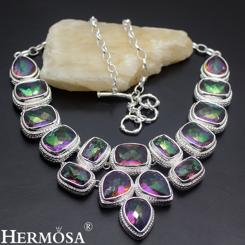 Hermosa Faceted Mystic Fire Jewelry Luxury Fashion Women 925 Sterling Silver Necklace 20 Inch Free Shipping