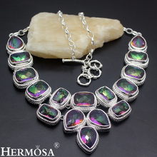 Hermosa Faceted Mystic Fire Jewelry Luxury Fashion Women Silver Color Necklace 20 Inch Free Shipping