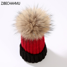 Casual New Real Fox Fur  Pompoms 15cm Skullies Beanies Hats For Children Girl Winter Hat Solid Wool Cotton Skullies Beanies Hat kids winter hats 2017 new real fox fur pompoms knitted beanies hat for children boys girls solid color skullies