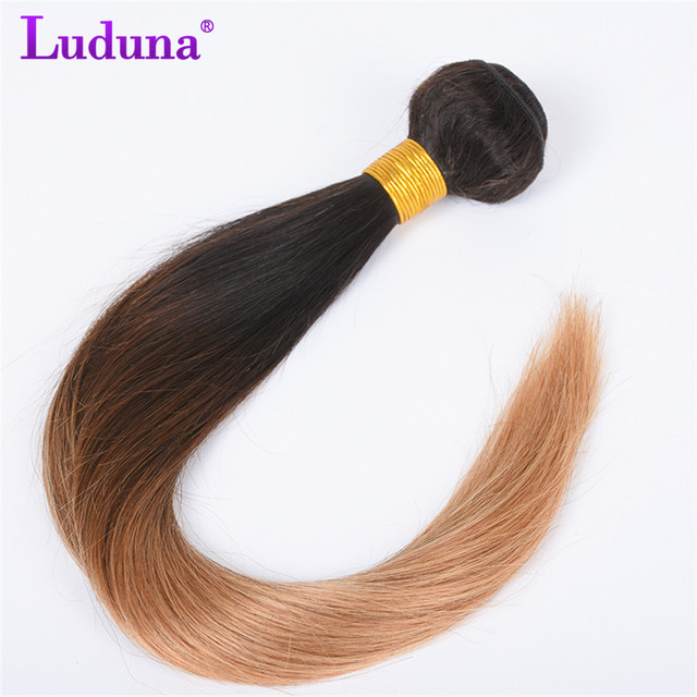 Luduna Ombre Brazilian Hair Straight Human Hair Bundles Brazilian Hair Weave Bundles #1B/27 Two Tone Color Ombre Non-Remy Hair