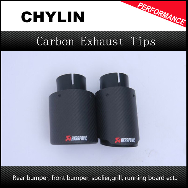 New Arrival 1pair Inlet (63mm) Outlet (101mm) Akrapovic Carbon Fiber Exhaust End Tips Universal Car Exhaust Muffler pipe