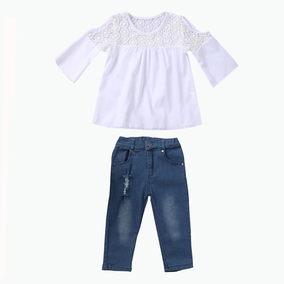 2017 Cute Kids Girl Clothing Set Off shoulder Lace White T-shirt Tops+Denim Pant Jeans 2PCS Children Clothes 2-7Y 2017 new fashion kids clothes off shoulder camo crop tops hole jean denim pant 2pcs outfit summer suit children clothing set