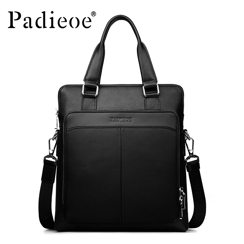 Padieoe Black genuine leather business briefcase high quality men messenger bag leather men's shoulder handbags famous brand padieoe men s genuine leather briefcase famous brand business cowhide leather men messenger bag casual handbags shoulder bags