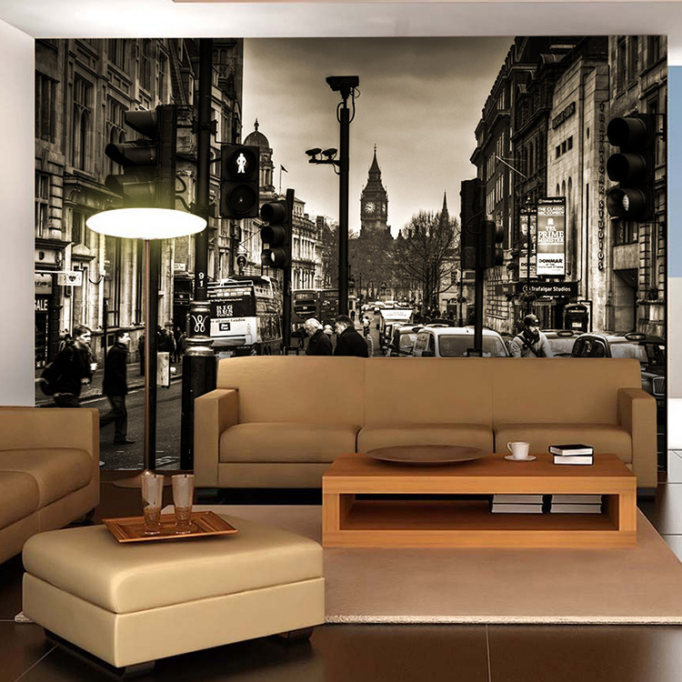 Free shipping 3d vintage black and white city street for Dining room mural wallpaper