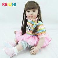 KEIUMI 60 см мягкие силиконовые Reborn Baby куклы реалистичные 24 дюймов для принцессы для девочки кукла для детей рождественские подарки малыш играт