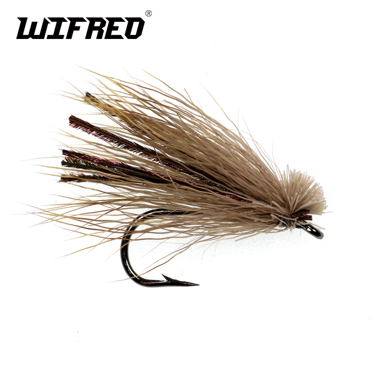 Wifreo 10PCS #4 Deer Hair Caddis Fly Trout Fly Fishing Caddis Bait