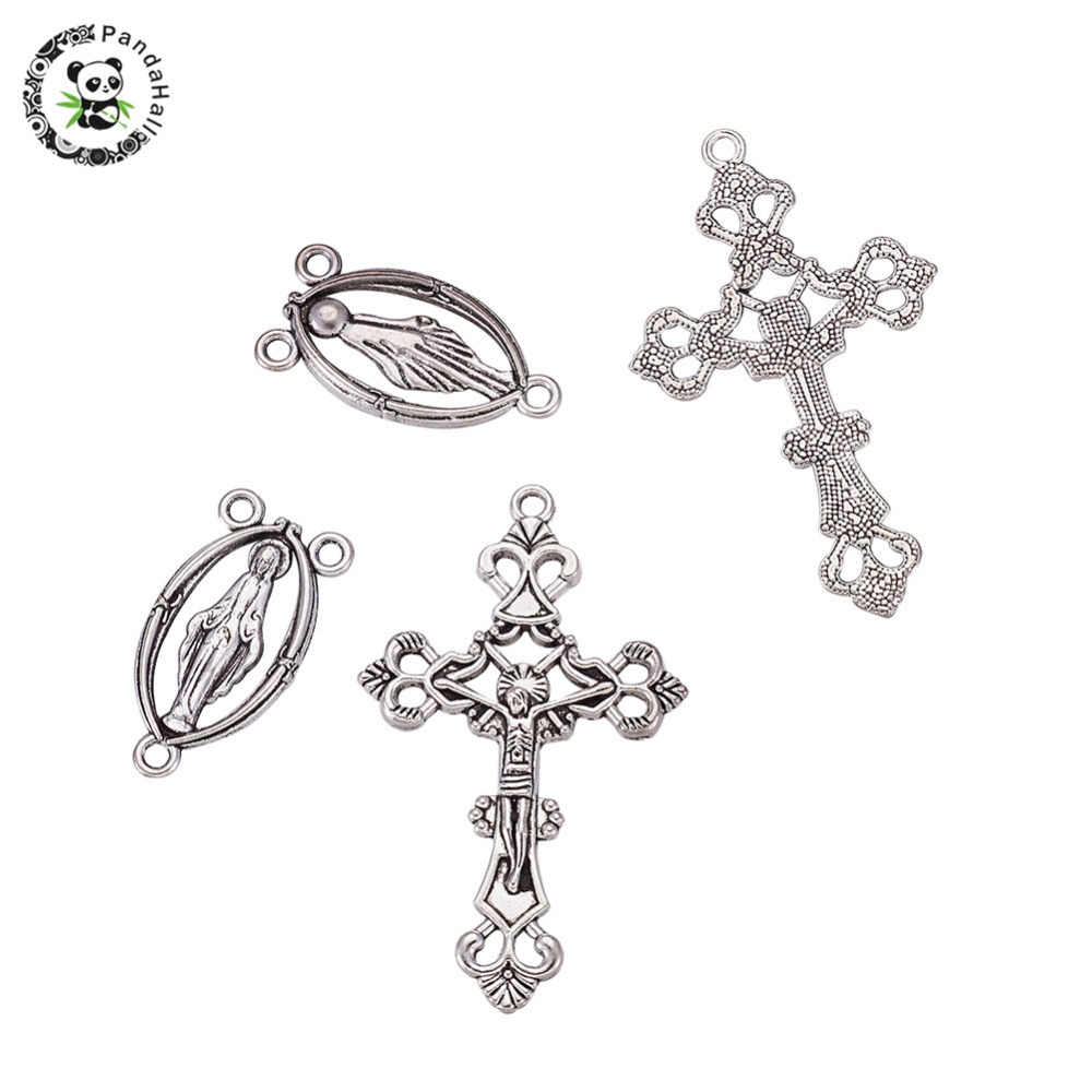 10Sets Tibetan Alloy Rosary Cross and Maria Center Charm Pendants Antique Silver Crucifix Pendants Oval Chandelier Links Lead Free for Jewelry Making