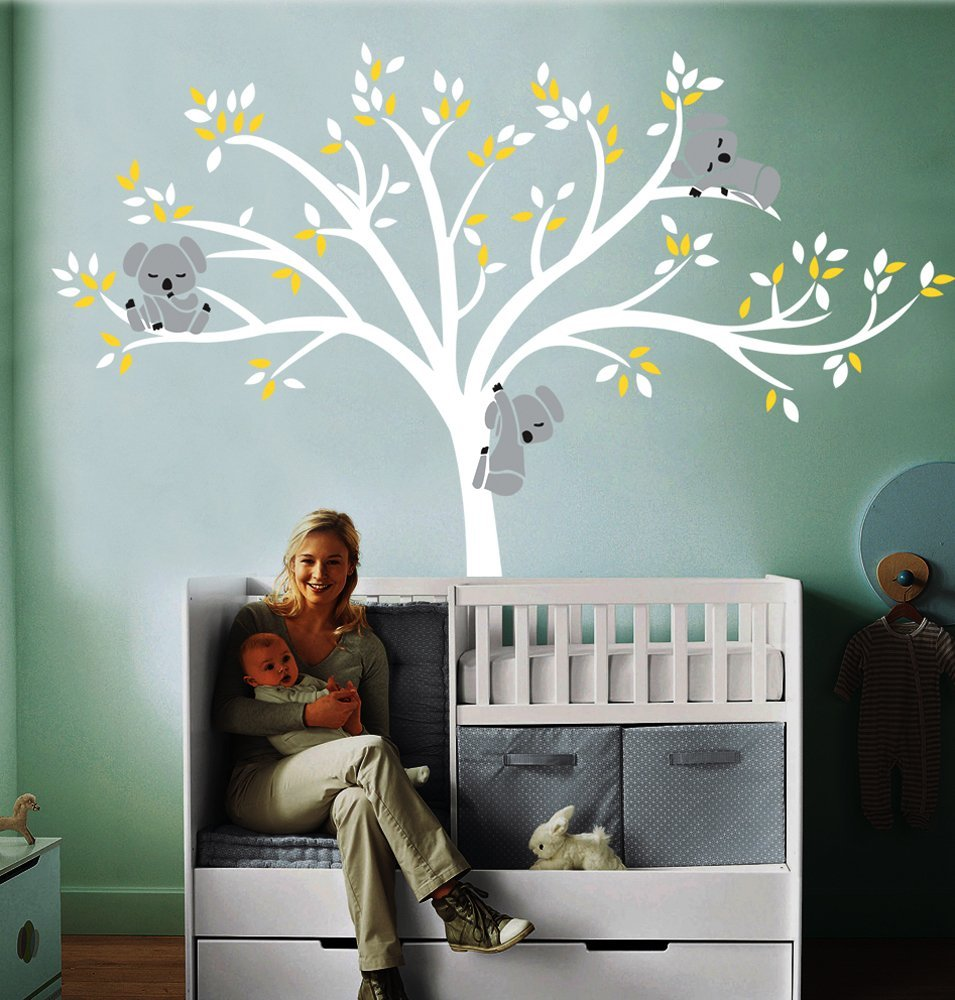 A010 Large Koala Tree Wall Decals For Baby Nursery Vinyl Decor Stickers 86 5 Wx77 H